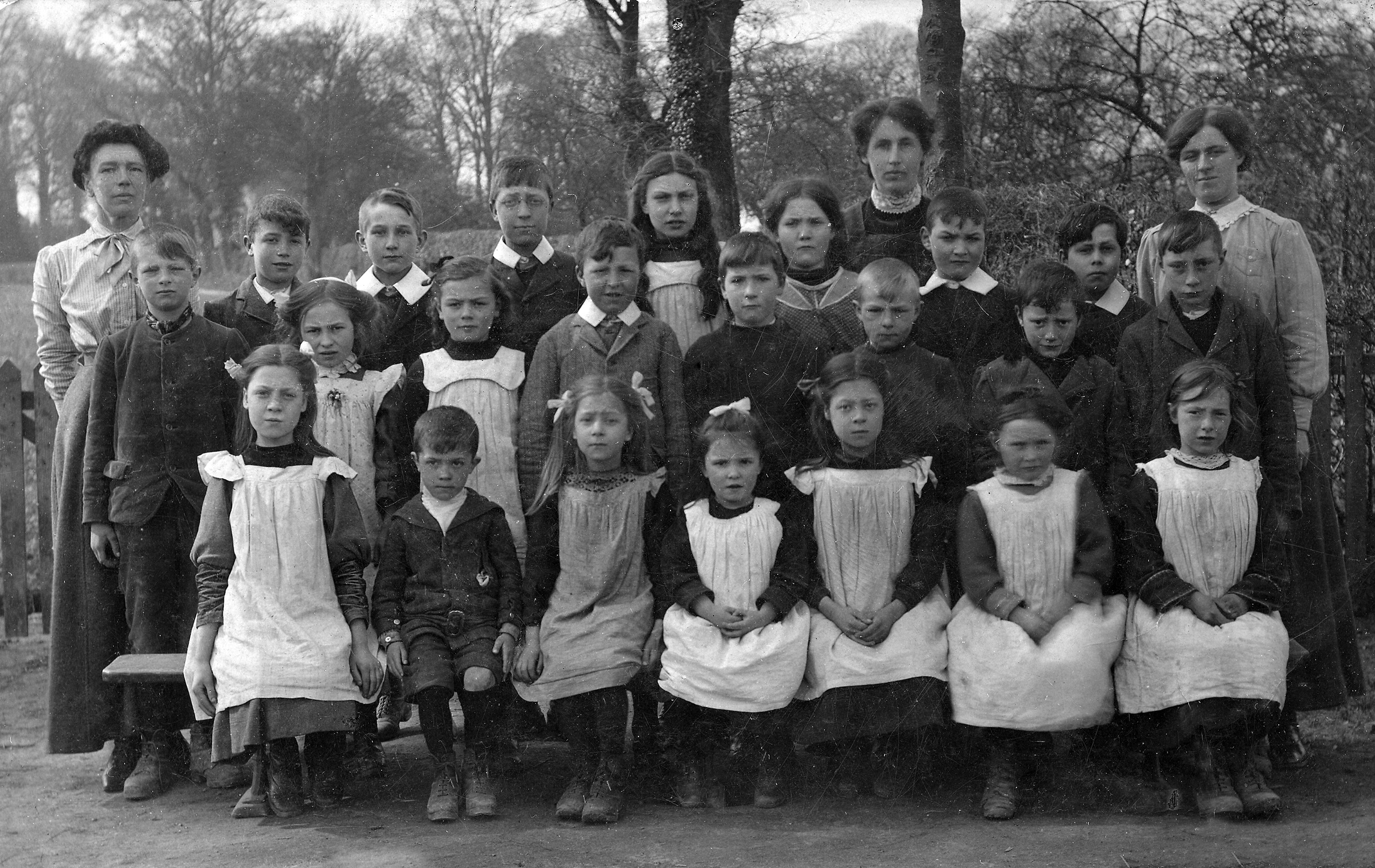 Teachers and pupils of Barton Bendish school in 1914